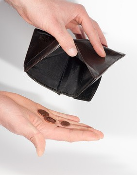 empty wallet with coins