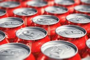 Macro view of drink cans