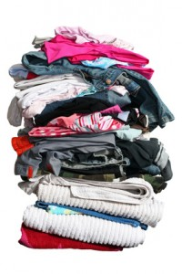 big pile of laundry with path