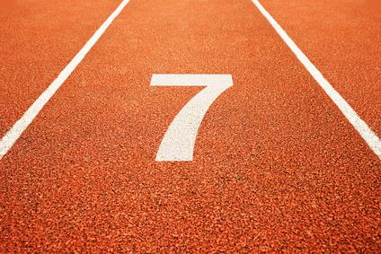 number seven on running track