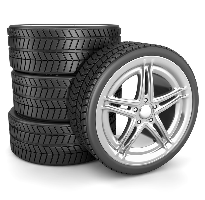 Car tyres set isolated