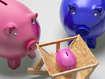 Piggy Family Shows Planning Protection And Savings