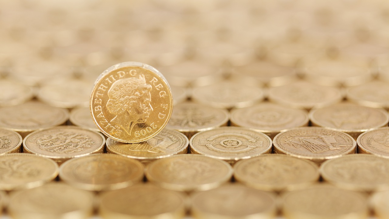 pound coin balancing on pound coins
